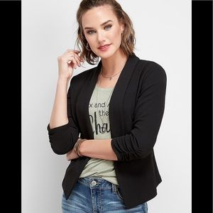 Maurices Open Front Black Blazer M 3/4 sleeves